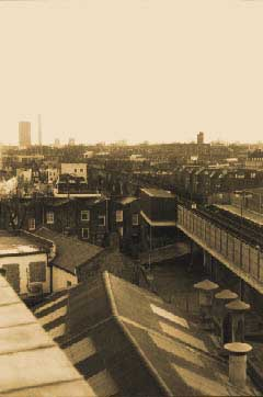 view from the roof of the rehearsal studio in Kentish Town, London