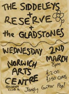 flyer for the gig at the Norwich Arts Centre