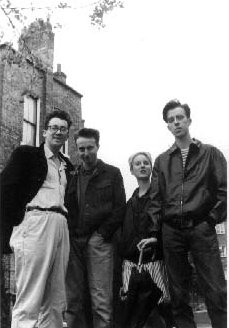 First ever photo-session, Turpentine Lane, London 1986, left to right: Phil, Andrew, Johnny and Allan
